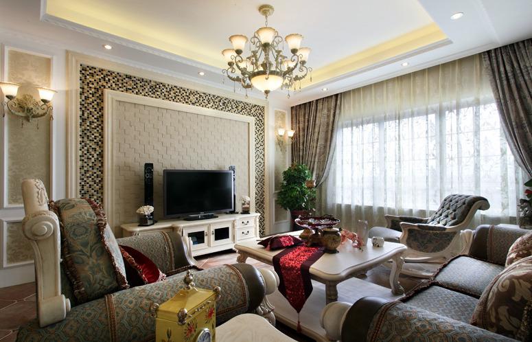 精美马赛克欧式客厅电视背景墙设计效果图