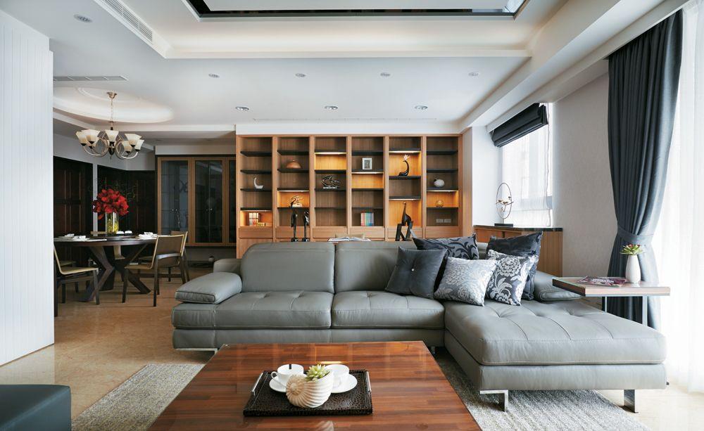时尚现代客厅实木沙发博古架设计