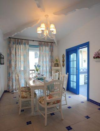 蓝白清凉地中海装潢风格小户型室内唯美装修画面