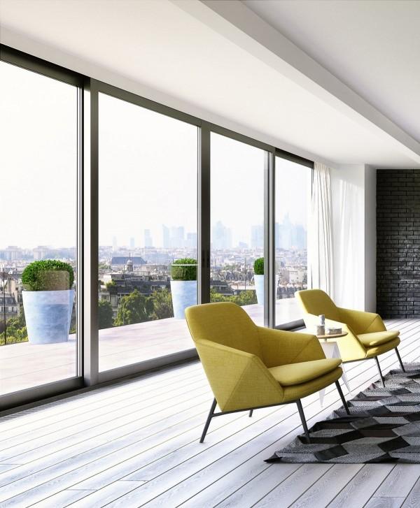 时尚简约现代家装落地窗效果图