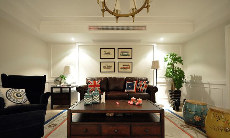 温馨复古美式客厅效果图设计效果图