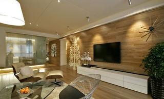 家装客厅简约原木电视背景墙设计