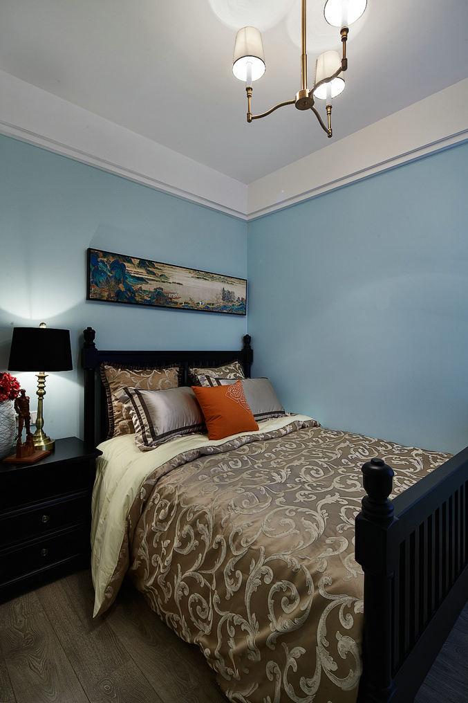 蓝色简约复古北欧风情卧室装饰效果图
