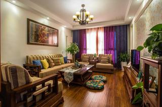 78平二居室东南亚异域风情混搭田园风装潢设计