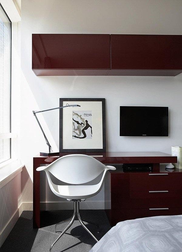 时尚现代猪肝红书房家居装饰效果图