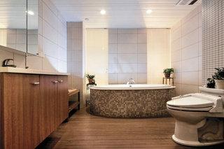 浅咖色宜家简约风卫生间圆形浴缸效果图