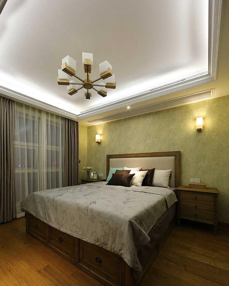 休闲简约美式卧室吊顶效果图