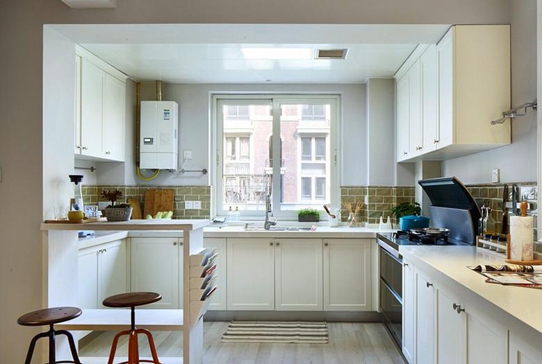 精美纯白北欧风情厨房U型橱柜室内设计