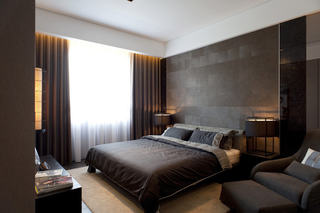 咖啡色后现代风卧室装潢效果图