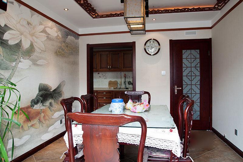 大气古典中式餐厅水墨画背景墙装潢欣赏图