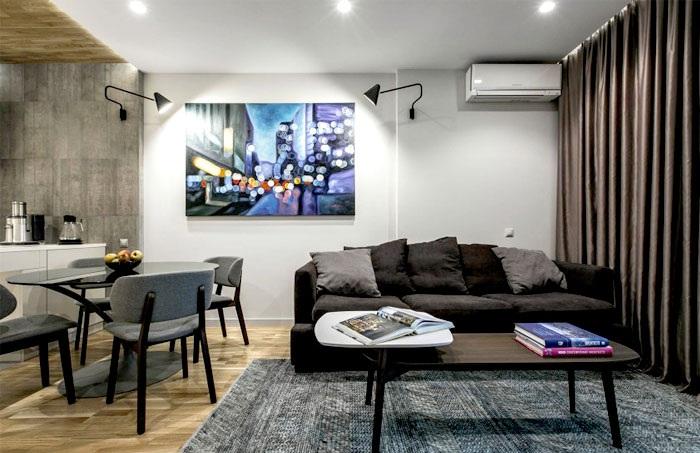 黑色系后现代工业风混搭单身公寓设计