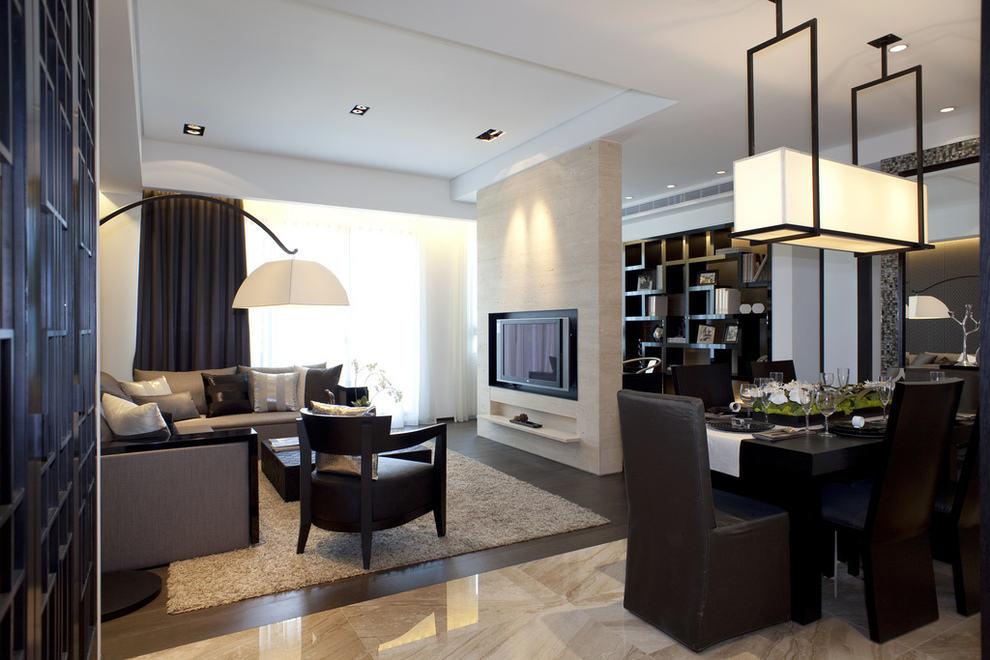 后现代风三居室内装修 电视背景墙半隔断效果图