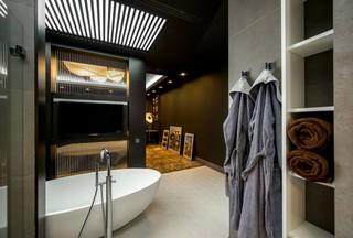 时尚摩登钢筋水泥工业风混搭公寓装饰