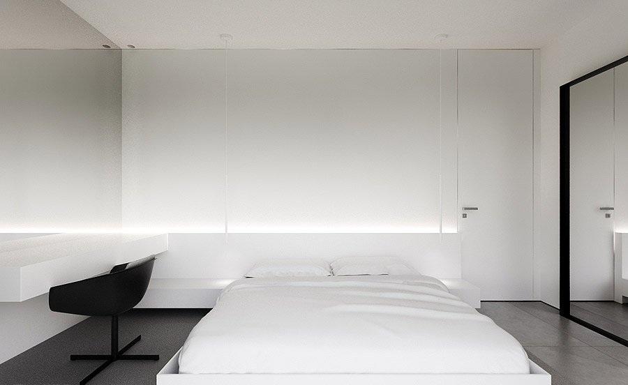 纯白简约现代风卧室设计效果图