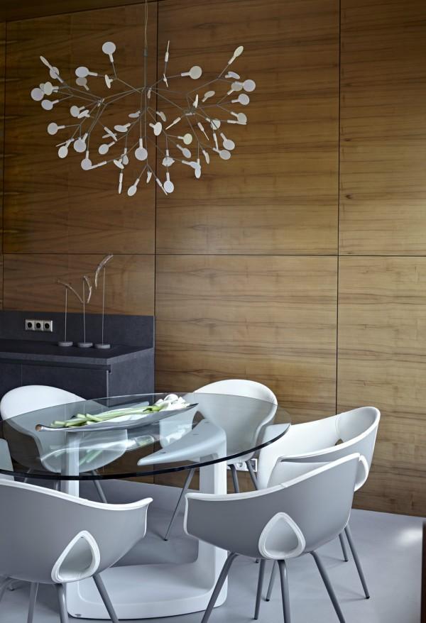 时尚简约俄罗斯开放式餐厅木质背景墙装饰