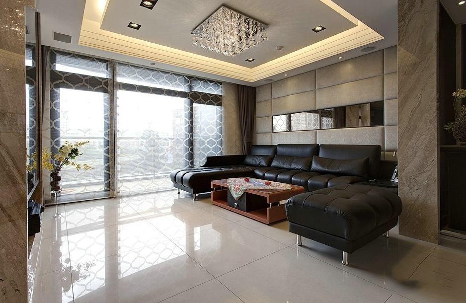 家装客厅简约设计窗帘隔断效果图