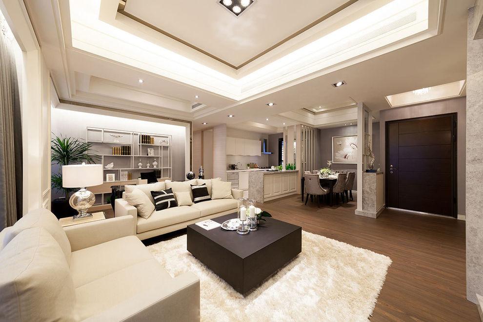 时尚浅咖色系现代简约三室两厅装修实景图