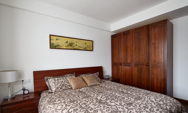 简约新中式卧室实木衣柜效果图