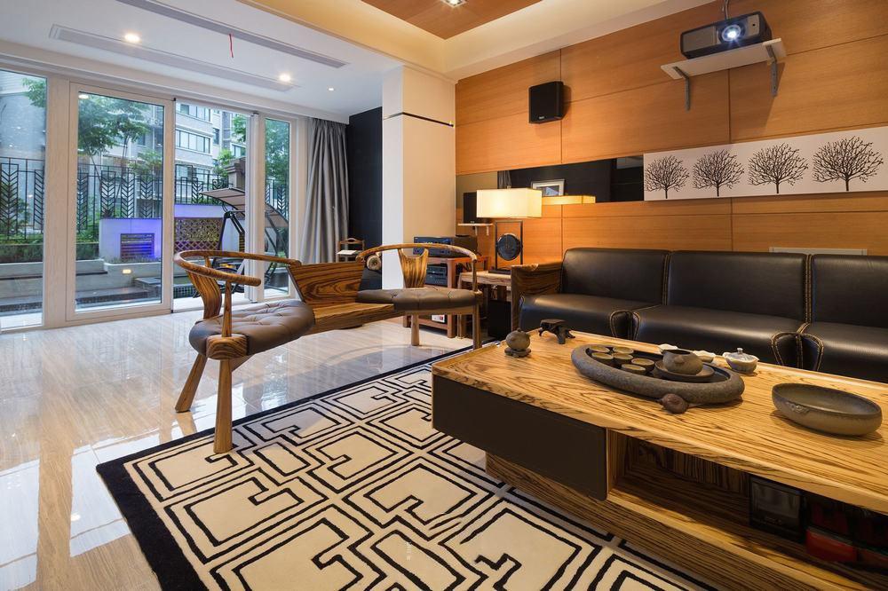 现代新中式客厅实木沙发背景墙装饰