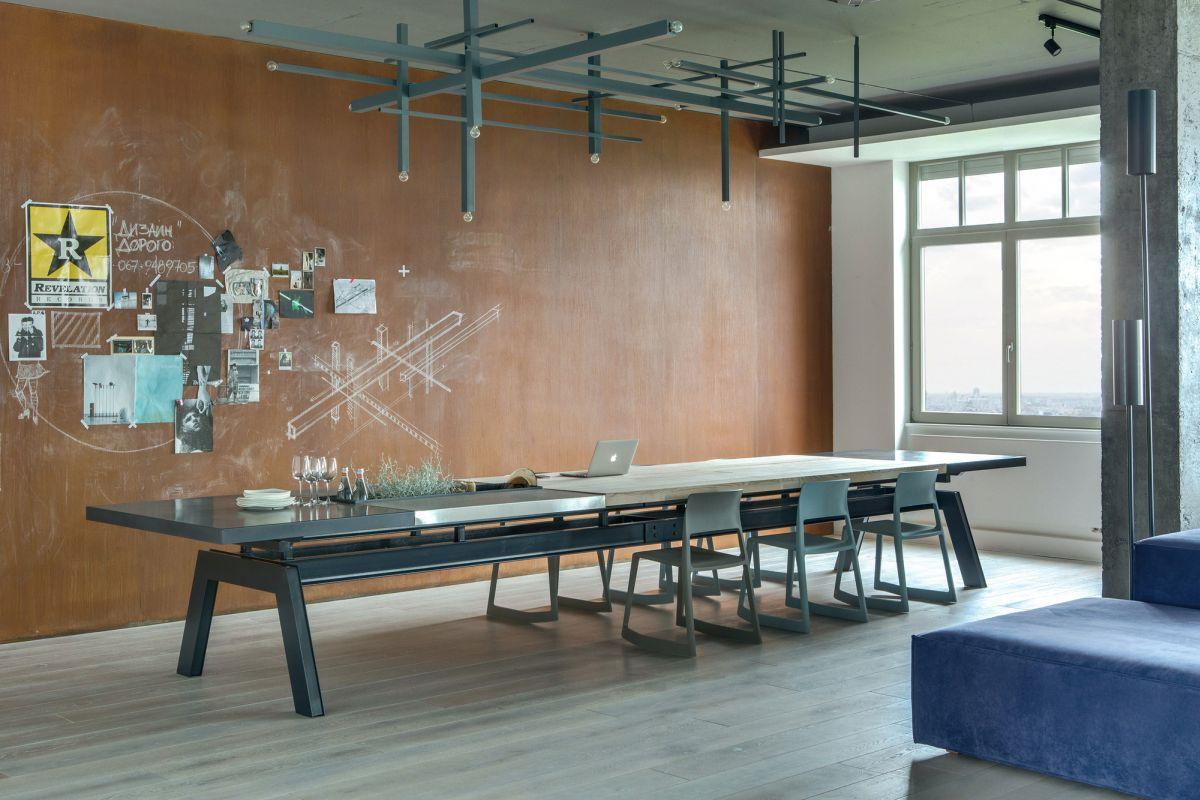 个性简约工业风餐厅实木背景墙设计