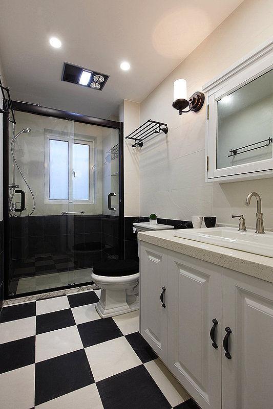 黑白简约美式卫生间装修图