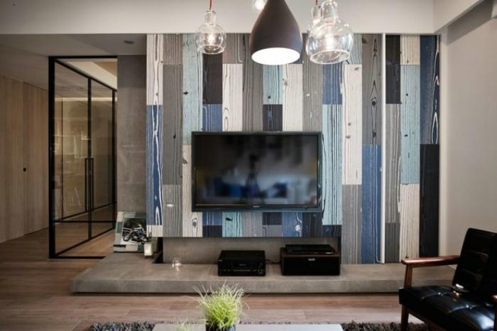 现代混搭装修 电视背景墙效果图