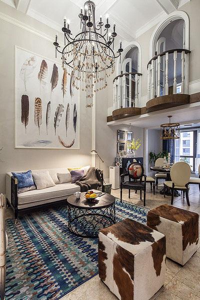 时尚混搭风 复式挑高客厅效果图