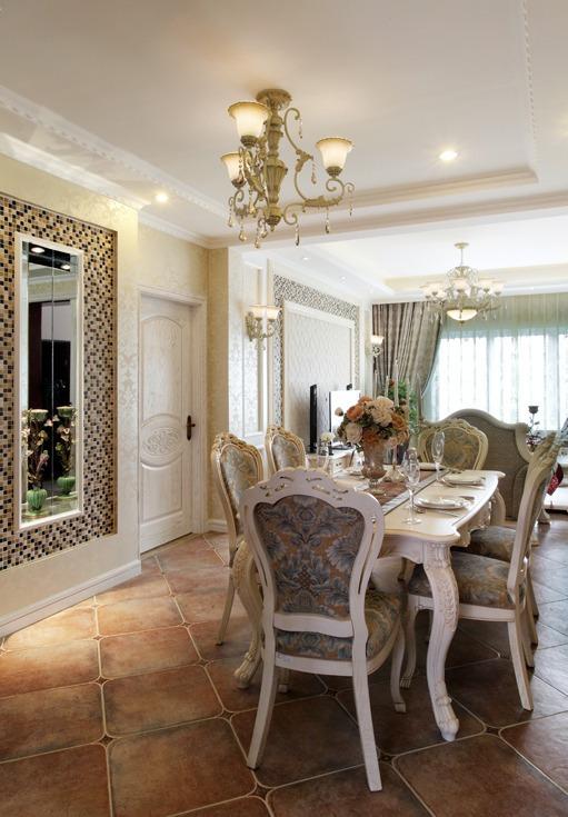 精美低奢欧式餐厅背景墙装潢效果图