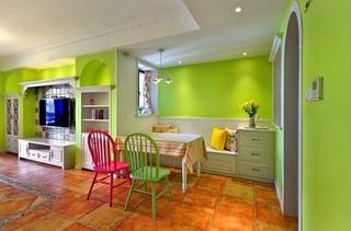 清新荧光绿田园风小户型公寓装饰效果图