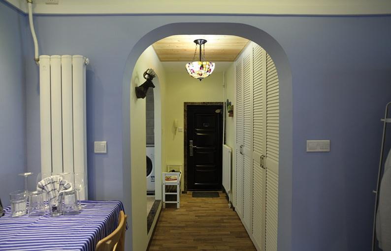 开放式浪漫紫色田园风一居室装修效果图
