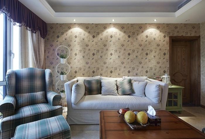 温馨田园风客厅沙发背景墙效果图