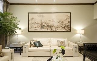清新素雅新中式客厅沙发背景墙装饰画欣赏