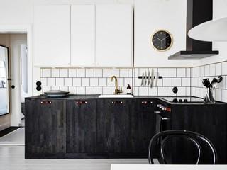 黑白个性复古北欧风格厨房家装效果图