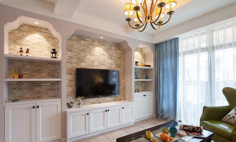家装简欧风格电视收纳背景墙设计
