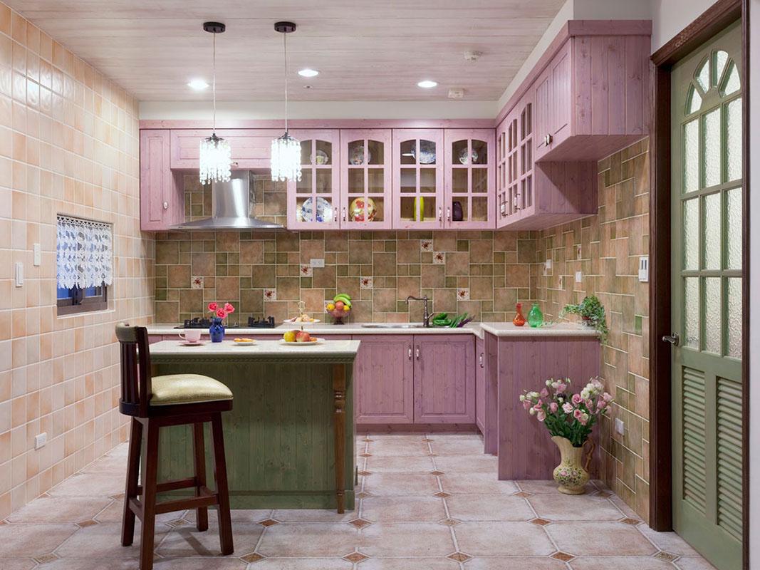 甜美紫色田园设计厨房橱柜效果图大全