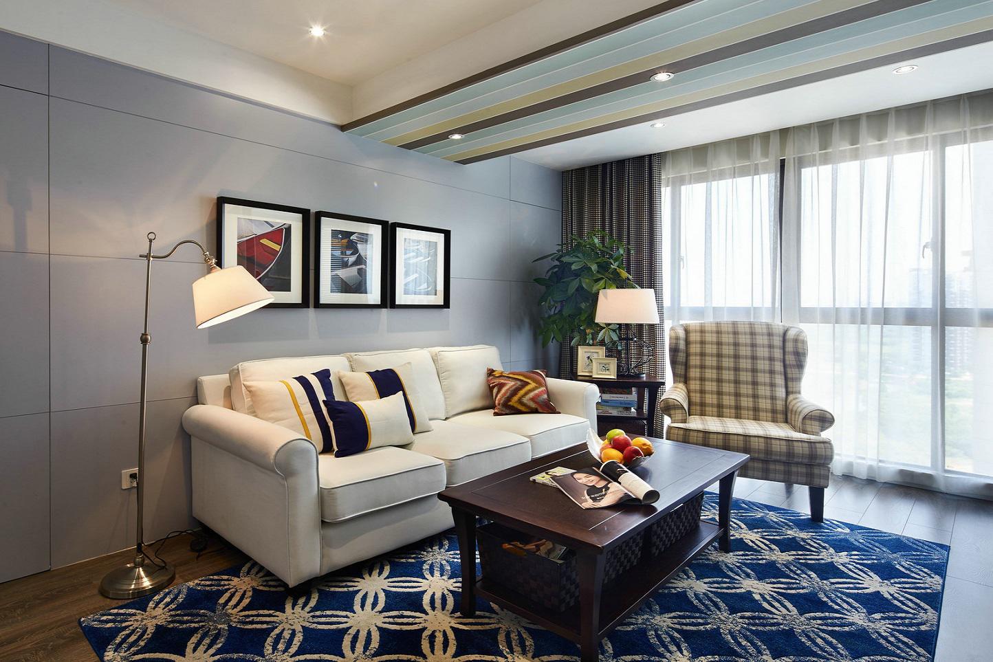 沉稳精练美式客厅沙发地垫装饰效果图