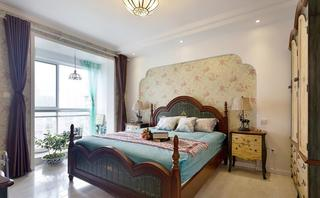 浪漫复古地中海风卧室背景墙效果图大全