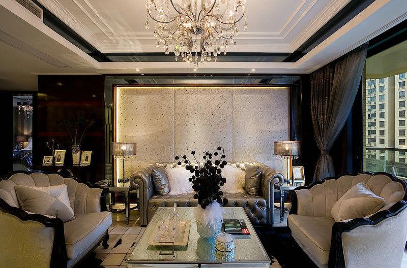 精美摩登欧式客厅背景墙装潢效果图