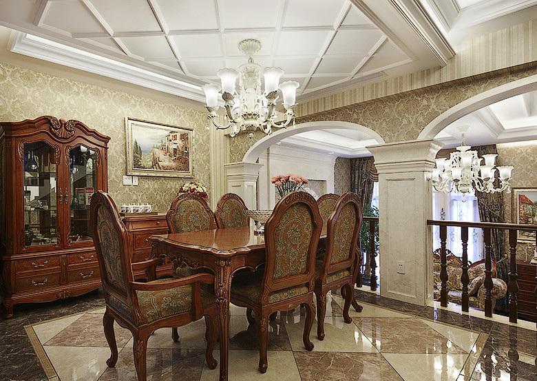 华丽复古欧式餐厅石膏吊顶设计
