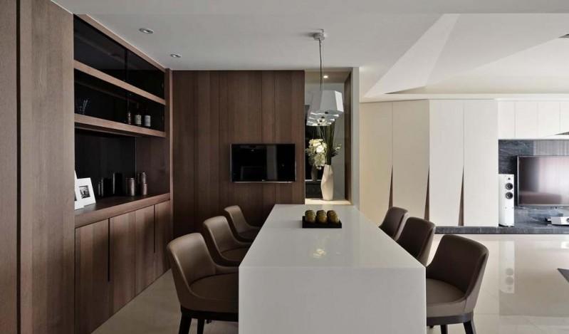 咖啡色素雅简约餐厅大理石吧台兼餐桌装潢效果图