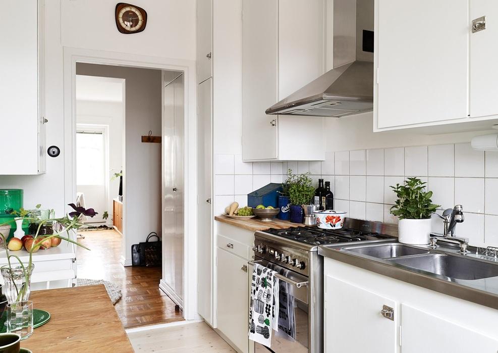 清新明亮北欧风格白色厨房效果图