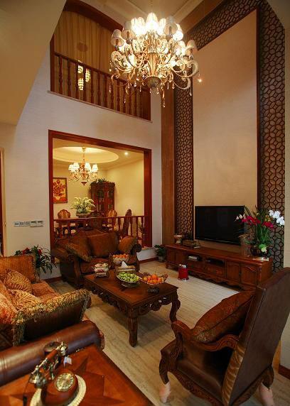 古色古香中式别墅客厅装饰效果图