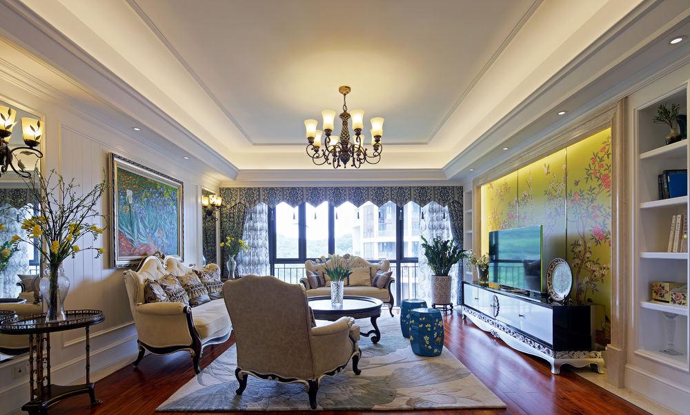简欧新古典别墅客厅吊顶设计大全