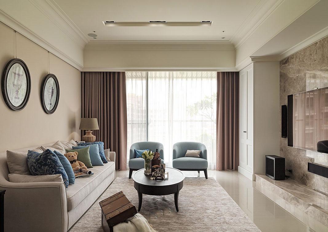 素雅美式装修客厅窗帘效果图大全
