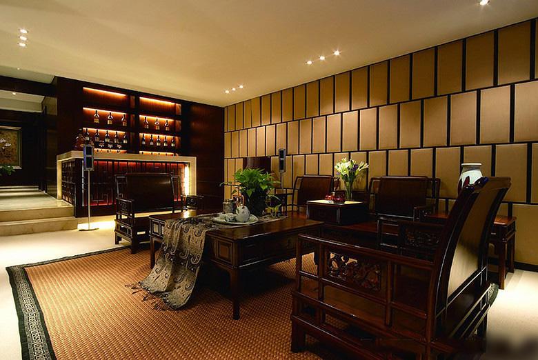 奢华高端现代新中式跃层客厅装饰效果图