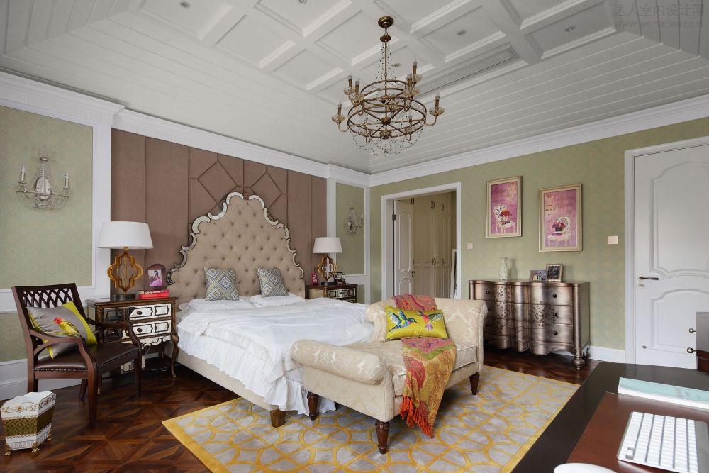 优雅浪漫简欧卧室吊顶效果图