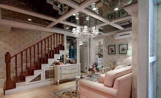 粉色精美田园美式风格复式家装美图