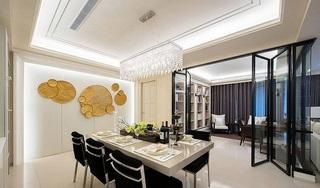 黑白风雅时尚现代餐厅玻璃折叠门隔断装饰效果图