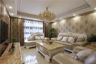 优雅香槟金简欧风格三室两厅美宅设计