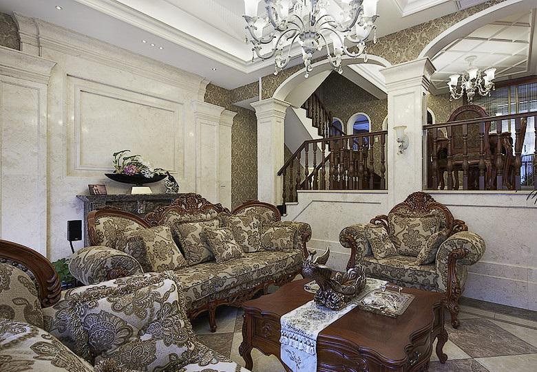 奢华复古欧式跃层别墅客厅装饰效果图